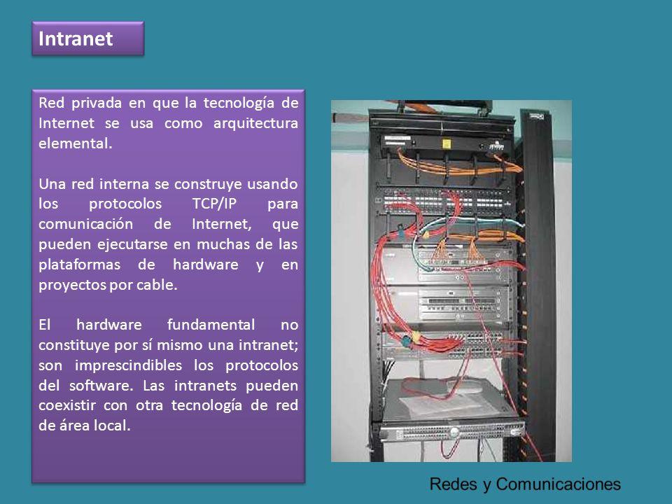 Intranet Red privada en que la tecnología de Internet se usa como arquitectura elemental. Una red interna se construye usando los protocolos TCP/IP pa