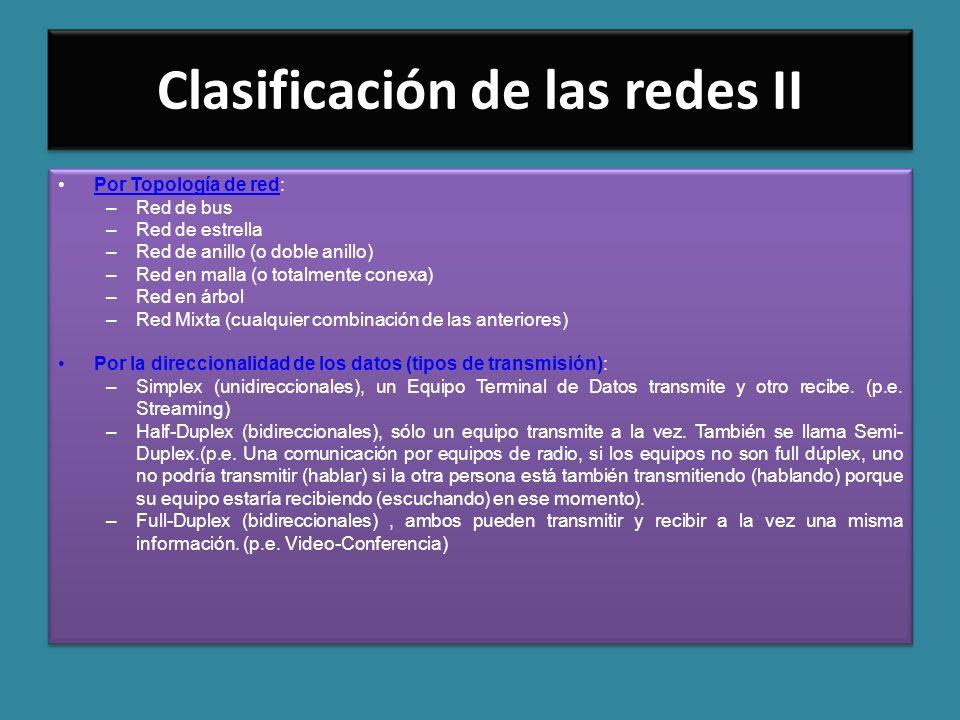 Clasificación de las redes II Por Topología de red:Por Topología de red –Red de bus –Red de estrella –Red de anillo (o doble anillo) –Red en malla (o