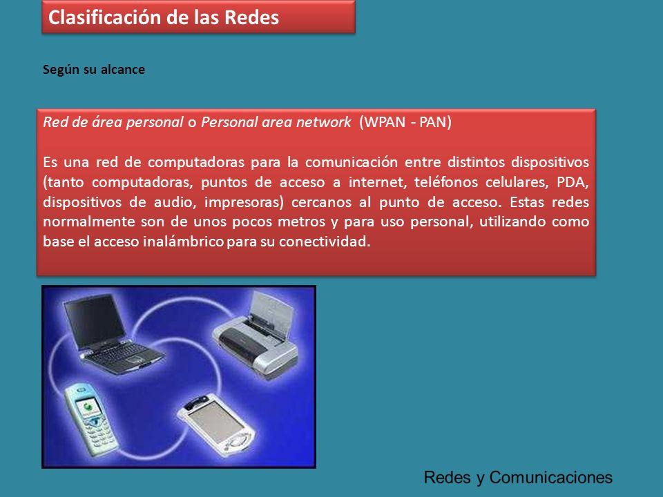 Red de área personal o Personal area network (WPAN - PAN) Es una red de computadoras para la comunicación entre distintos dispositivos (tanto computad