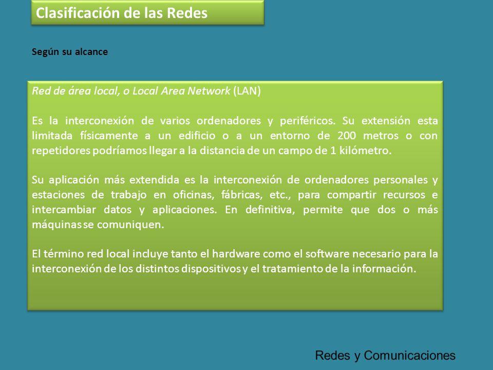 Red de área local, o Local Area Network (LAN) Es la interconexión de varios ordenadores y periféricos. Su extensión esta limitada físicamente a un edi