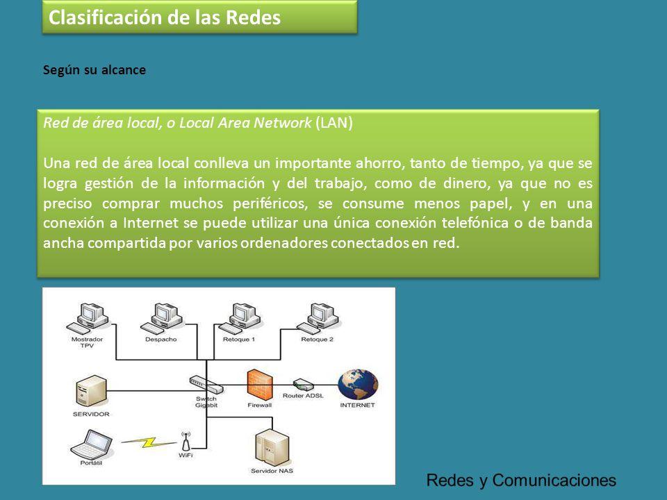 Red de área local, o Local Area Network (LAN) Una red de área local conlleva un importante ahorro, tanto de tiempo, ya que se logra gestión de la info