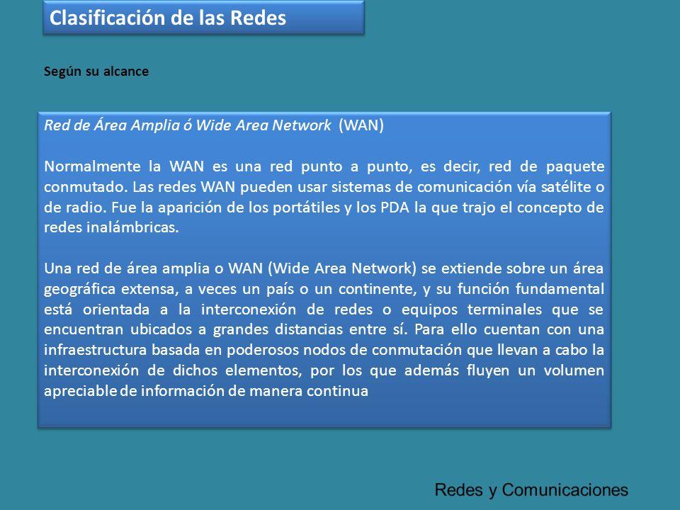 Red de Área Amplia ó Wide Area Network (WAN) Normalmente la WAN es una red punto a punto, es decir, red de paquete conmutado. Las redes WAN pueden usa