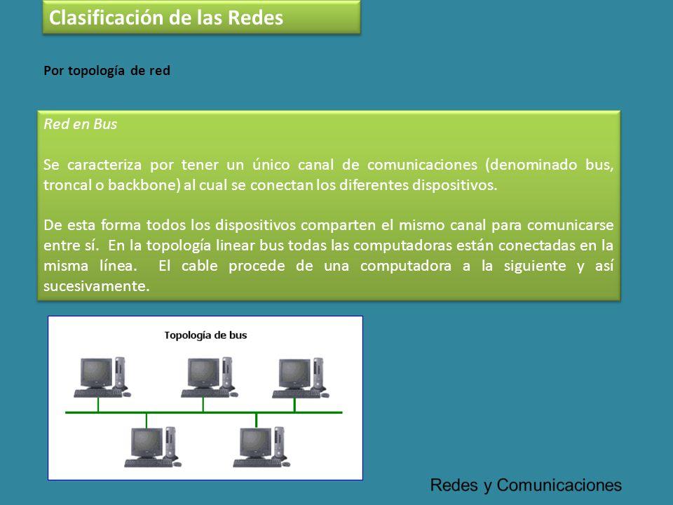 Clasificación de las Redes Red en Bus Se caracteriza por tener un único canal de comunicaciones (denominado bus, troncal o backbone) al cual se conect