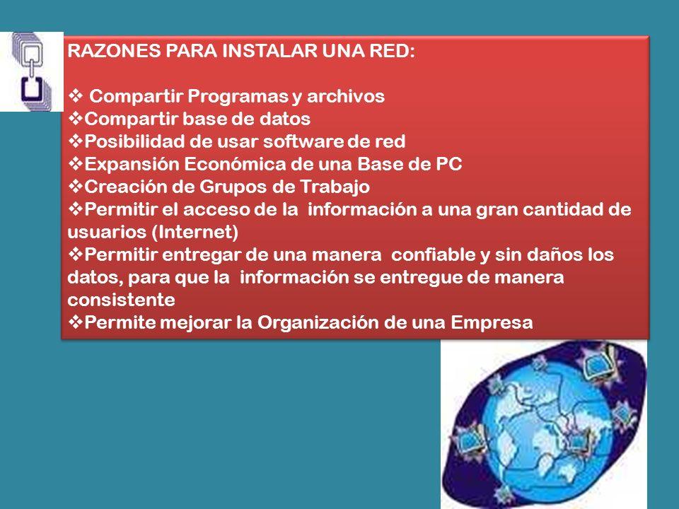 RAZONES PARA INSTALAR UNA RED: Compartir Programas y archivos Compartir base de datos Posibilidad de usar software de red Expansión Económica de una B