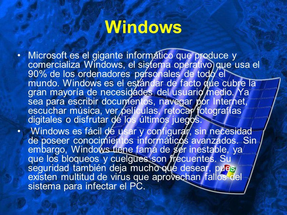 Windows Microsoft es el gigante informático que produce y comercializa Windows, el sistema operativo que usa el 90% de los ordenadores personales de t
