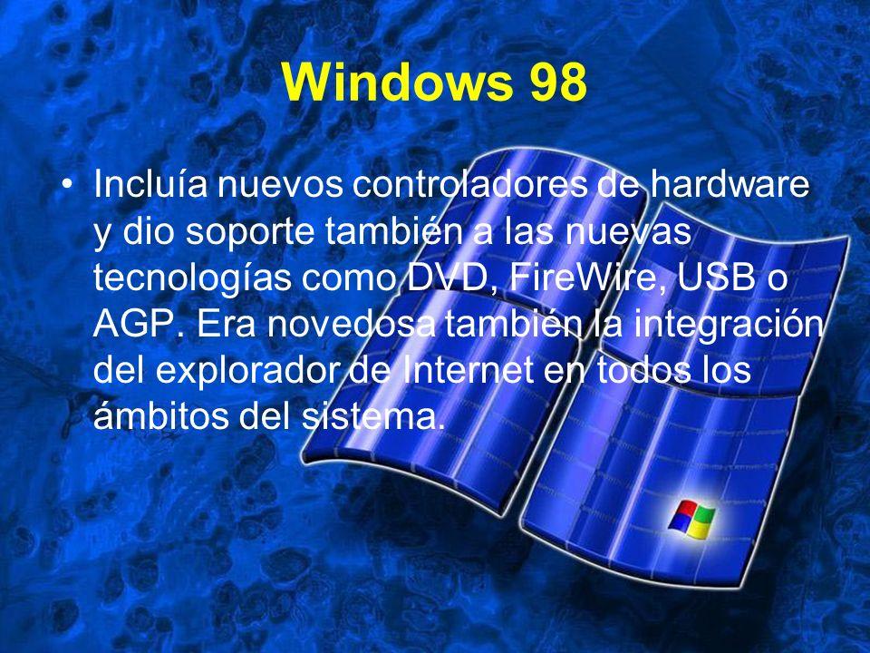 Windows 98 Incluía nuevos controladores de hardware y dio soporte también a las nuevas tecnologías como DVD, FireWire, USB o AGP. Era novedosa también