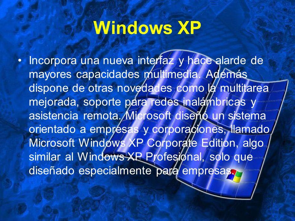 Windows XP Incorpora una nueva interfaz y hace alarde de mayores capacidades multimedia. Además dispone de otras novedades como la multitarea mejorada