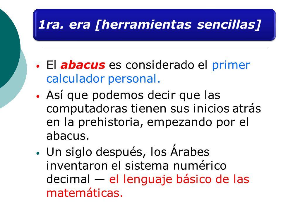 El abacus es considerado el primer calculador personal. Así que podemos decir que las computadoras tienen sus inicios atrás en la prehistoria, empezan