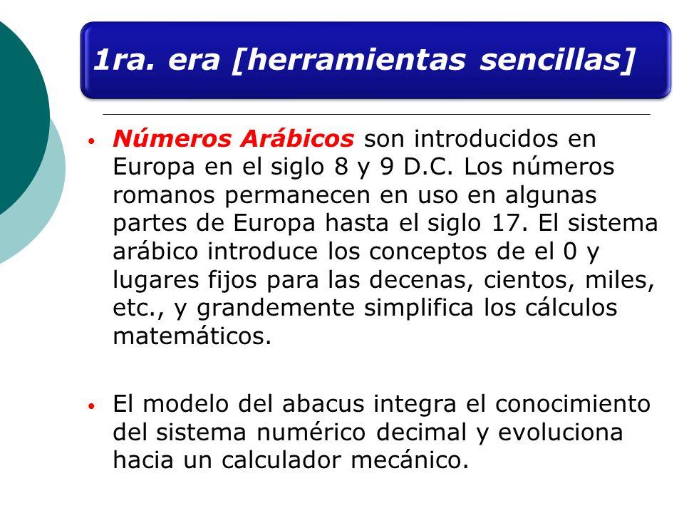 Números Arábicos son introducidos en Europa en el siglo 8 y 9 D.C. Los números romanos permanecen en uso en algunas partes de Europa hasta el siglo 17