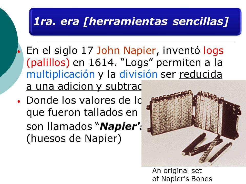 En el siglo 17 John Napier, inventó logs (palillos) en 1614. Logs permiten a la multiplicación y la división ser reducida a una adicion y subtraction.