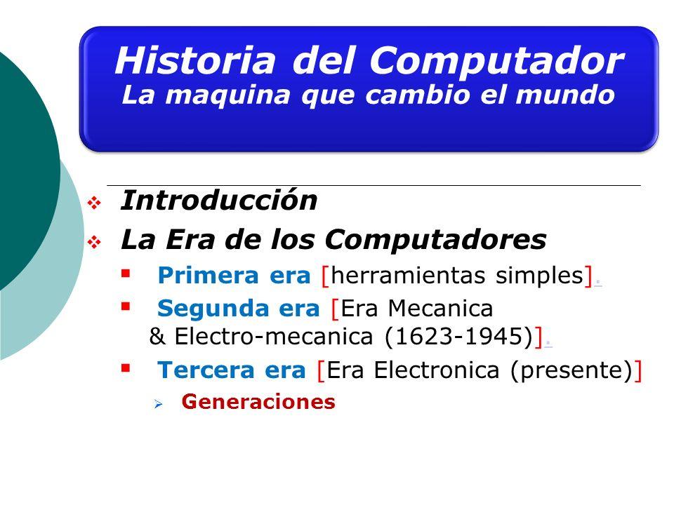 Introducción La Era de los Computadores Primera era [herramientas simples].. Segunda era [Era Mecanica & Electro-mecanica (1623-1945)].. Tercera era [