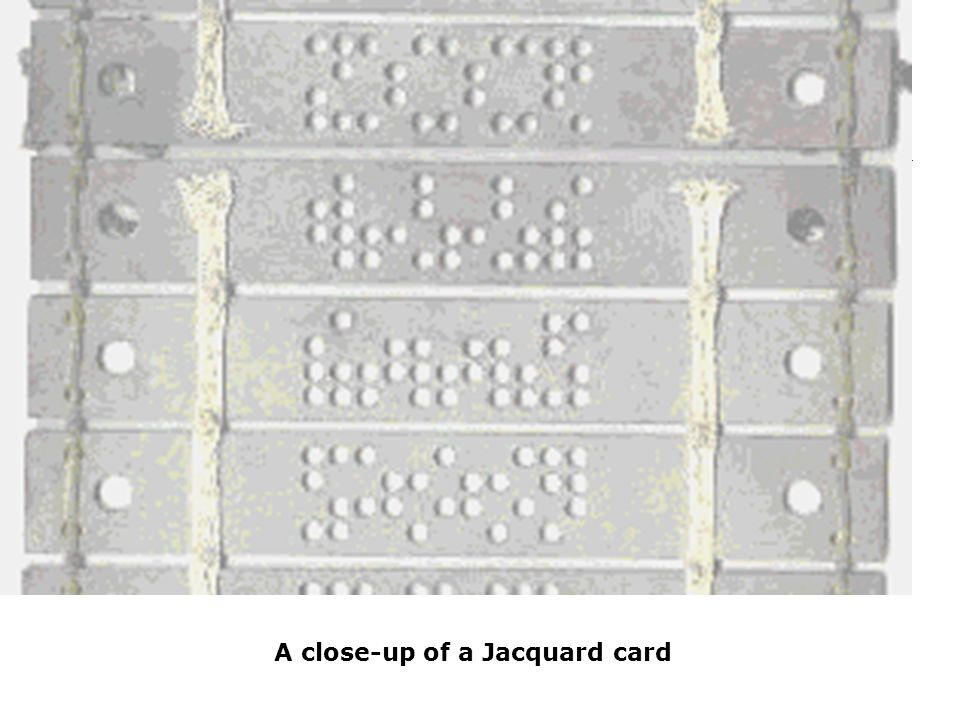 A close-up of a Jacquard card