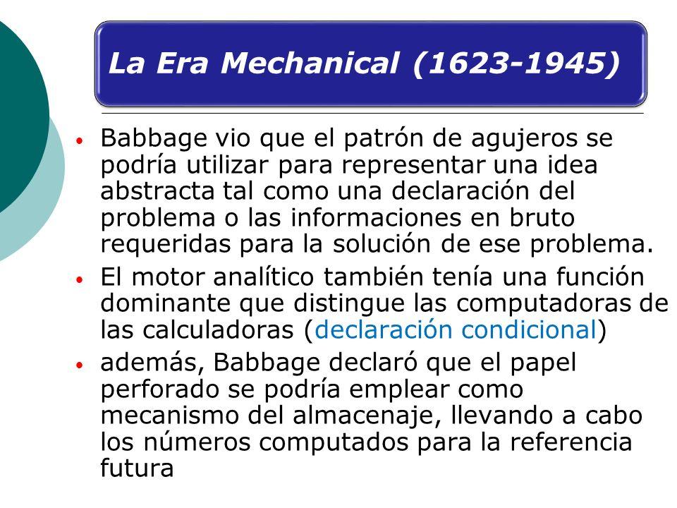 Babbage vio que el patrón de agujeros se podría utilizar para representar una idea abstracta tal como una declaración del problema o las informaciones