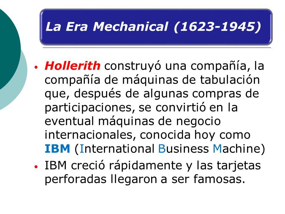 Hollerith construyó una compañía, la compañía de máquinas de tabulación que, después de algunas compras de participaciones, se convirtió en la eventua