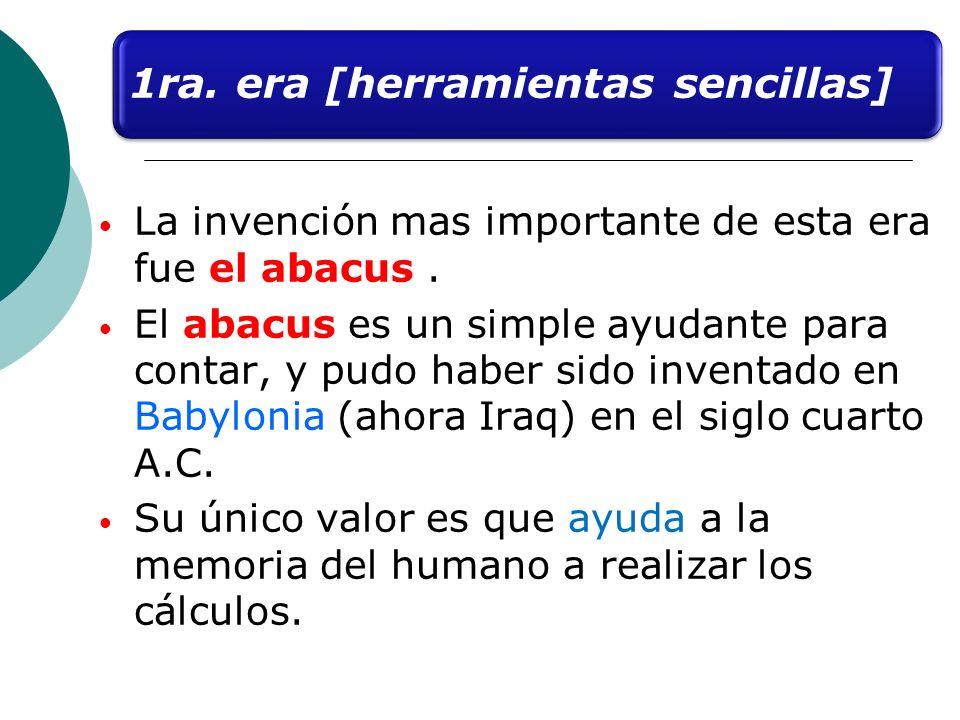 La invención mas importante de esta era fue el abacus. El abacus es un simple ayudante para contar, y pudo haber sido inventado en Babylonia (ahora Ir