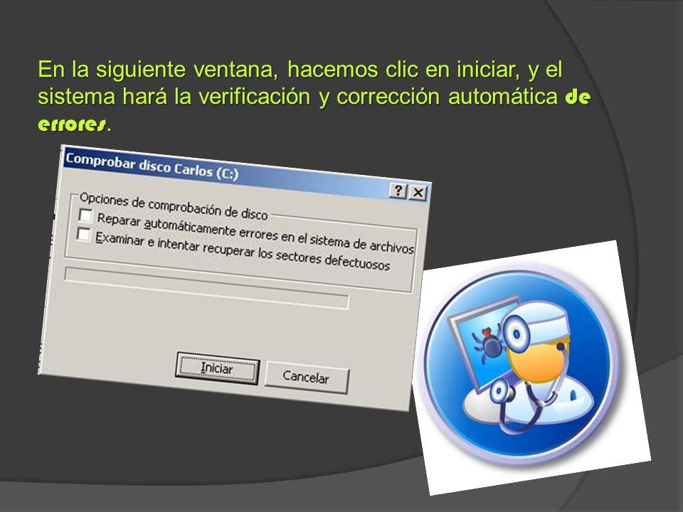 En la siguiente ventana, hacemos clic en iniciar, y el sistema hará la verificación y corrección automática de errores.