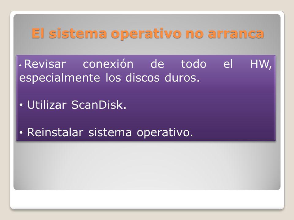 El sistema operativo no arranca Revisar conexión de todo el HW, especialmente los discos duros. Utilizar ScanDisk. Reinstalar sistema operativo. Revis