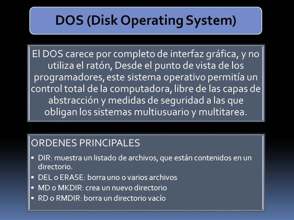 El DOS carece por completo de interfaz gráfica, y no utiliza el ratón, Desde el punto de vista de los programadores, este sistema operativo permitía u