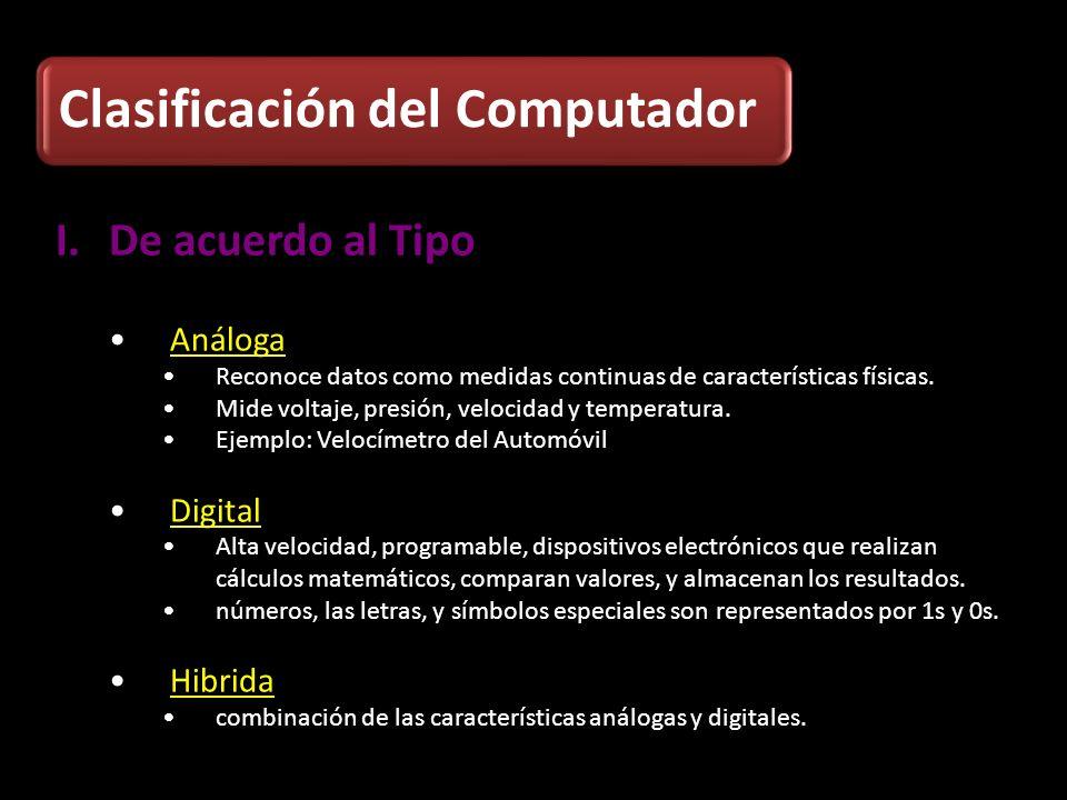 Clasificación del Computador I.De acuerdo al Tipo Análoga Reconoce datos como medidas continuas de características físicas. Mide voltaje, presión, vel
