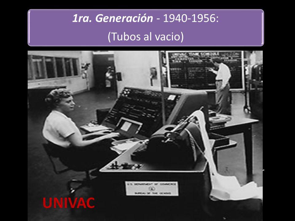 LAS DESVENTAJAS Consumieron mucho poder (electricidad) Generada bastante calor Se quemaban rápidamente Lento procesamiento Ningún concepto del sistema operativo 1ra.