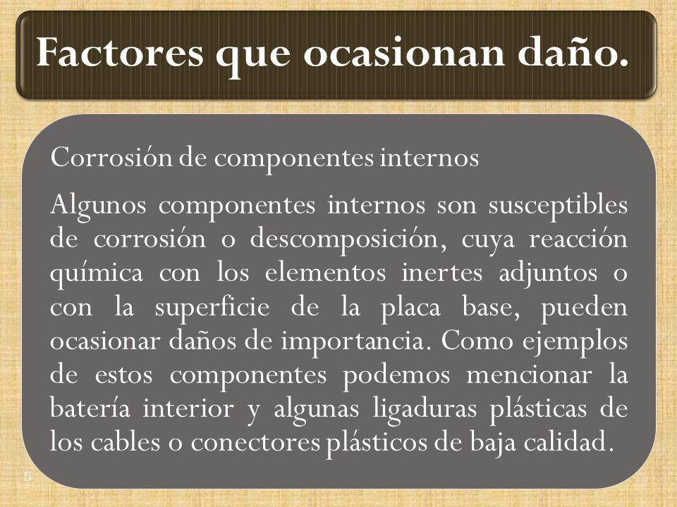 Corrosión de componentes internos Algunos componentes internos son susceptibles de corrosión o descomposición, cuya reacción química con los elementos inertes adjuntos o con la superficie de la placa base, pueden ocasionar daños de importancia.