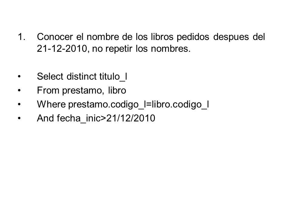 1.Conocer el nombre de los libros pedidos despues del 21-12-2010, no repetir los nombres.