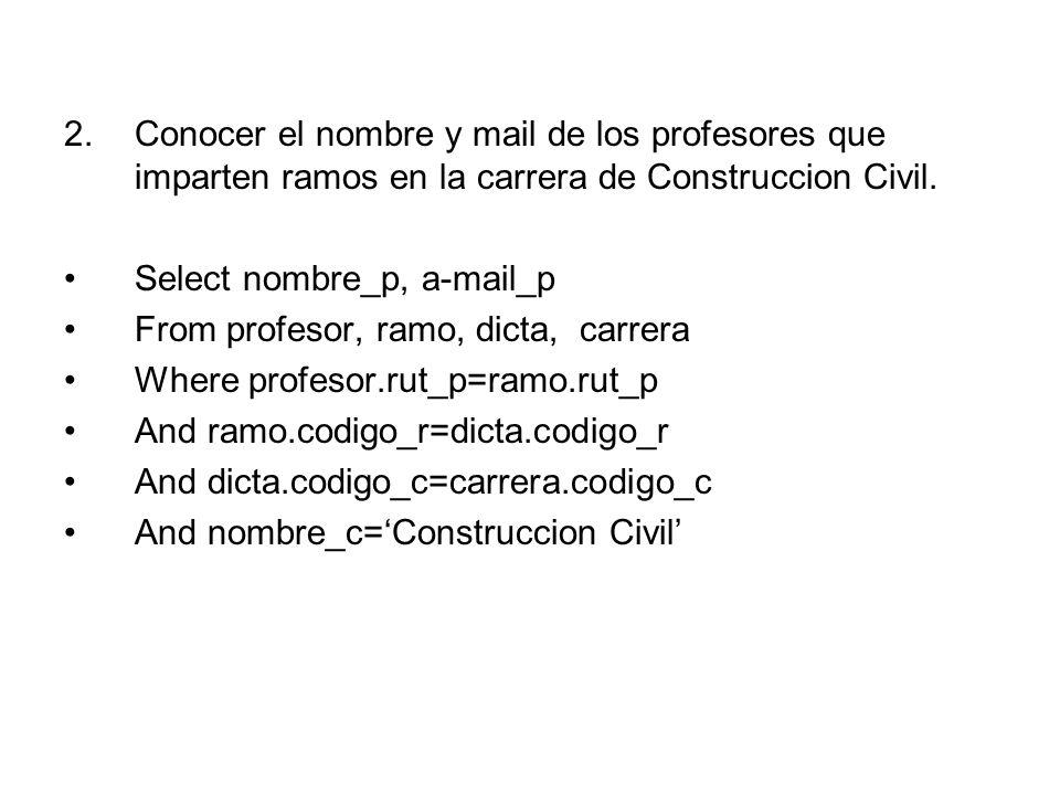 2.Conocer el nombre y mail de los profesores que imparten ramos en la carrera de Construccion Civil.