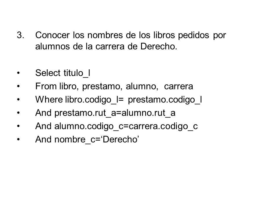 3.Conocer los nombres de los libros pedidos por alumnos de la carrera de Derecho.