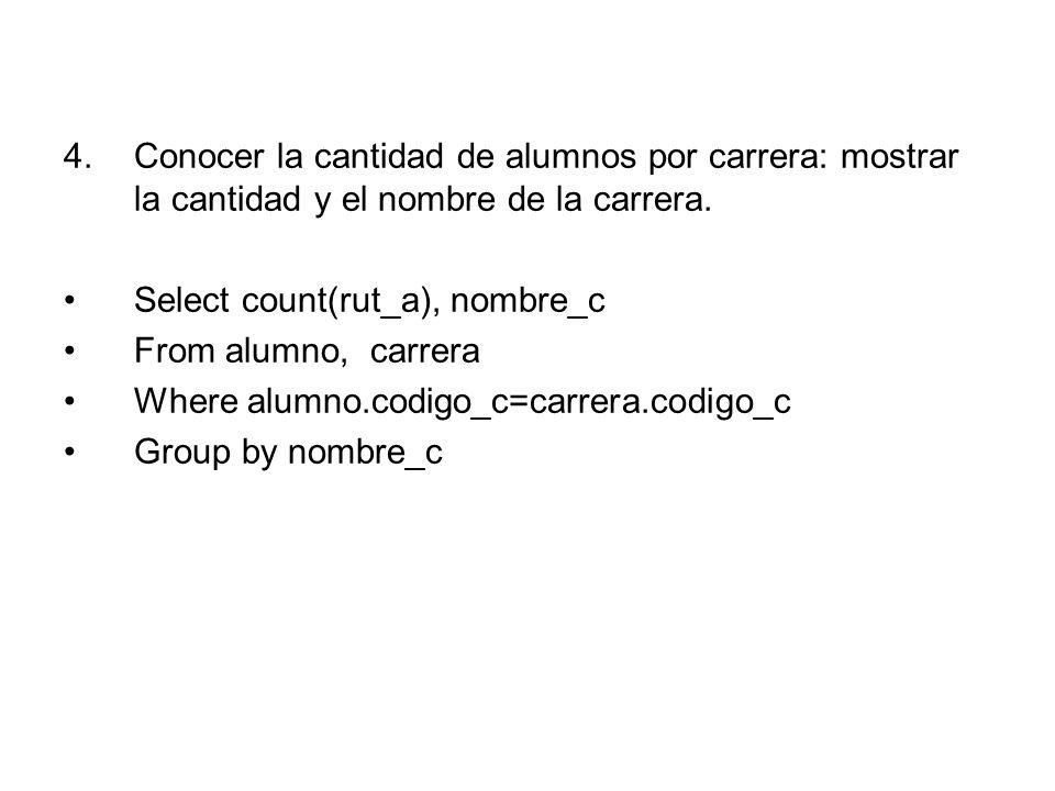 4.Conocer la cantidad de alumnos por carrera: mostrar la cantidad y el nombre de la carrera.
