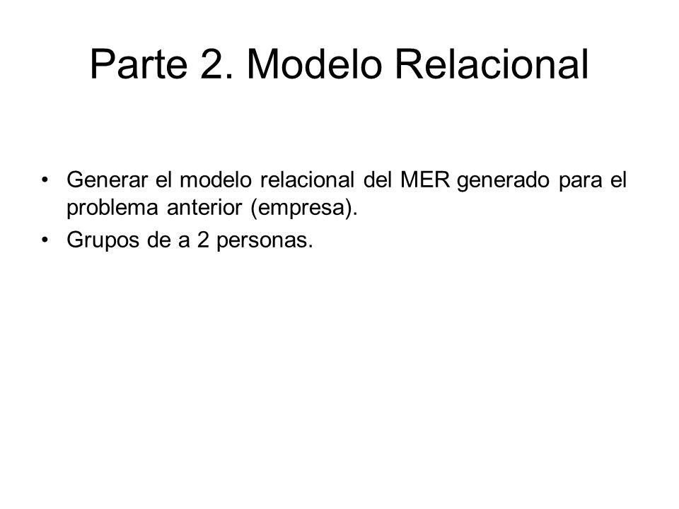 Parte 2. Modelo Relacional Generar el Modelo Relacional de este MER (individual)