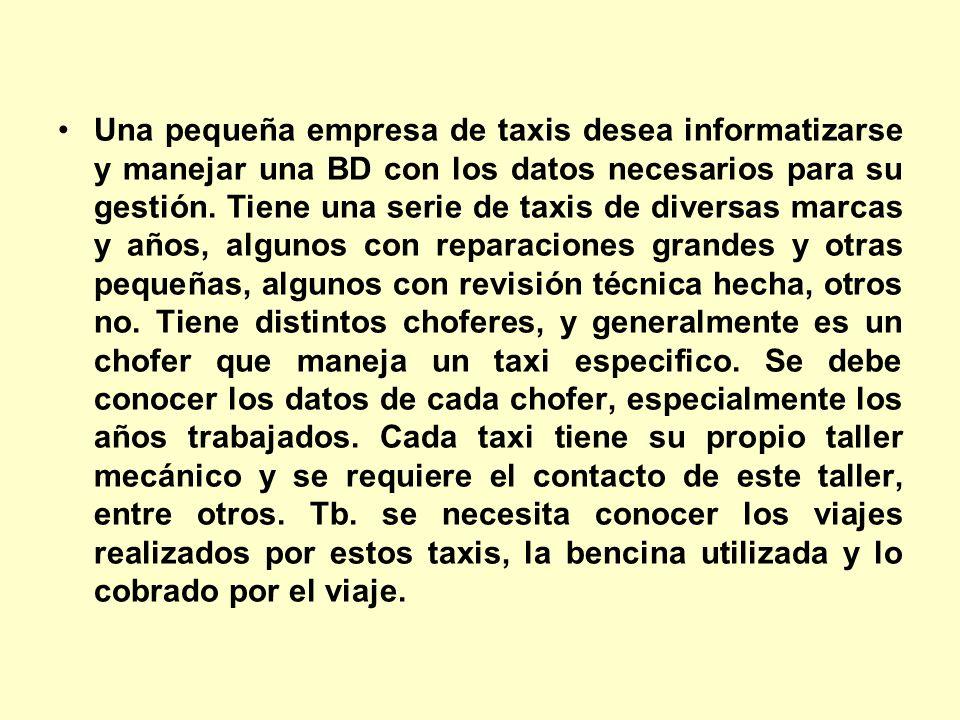 Una pequeña empresa de taxis desea informatizarse y manejar una BD con los datos necesarios para su gestión. Tiene una serie de taxis de diversas marc