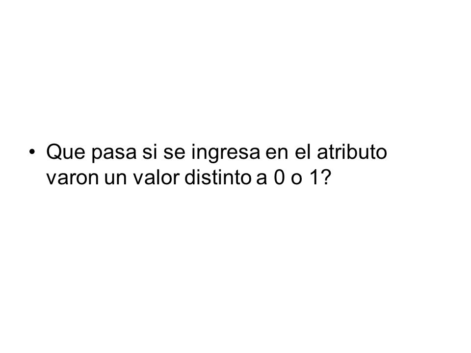 create procedure insertarpersona2 (@DNI varchar(9), @nombre varchar(25), @apellido varchar(50), @ciudad varchar(25), @direccioncalle varchar(50), @direccionnum varchar(3), @telefono varchar(9), @fechanacimiento datetime, @varon char(1)) as if not exists(select * from persona where dni=@dni) begin if @varon in ( 0 , 1 ) begin insert into persona (DNI, Nombre, Apellido, Ciudad, DireccionCalle, DireccionNum, Telefono, FechaNacimiento, Varon) values (@DNI, @Nombre, @APellido, @Ciudad, @DireccionCalle, @DireccionNum, @Telefono, @FechaNacimiento, @Varon) print Persona insertada. end else print Persona debe ser 1 o 0 end else print Ya existe una persona con ese DNI.