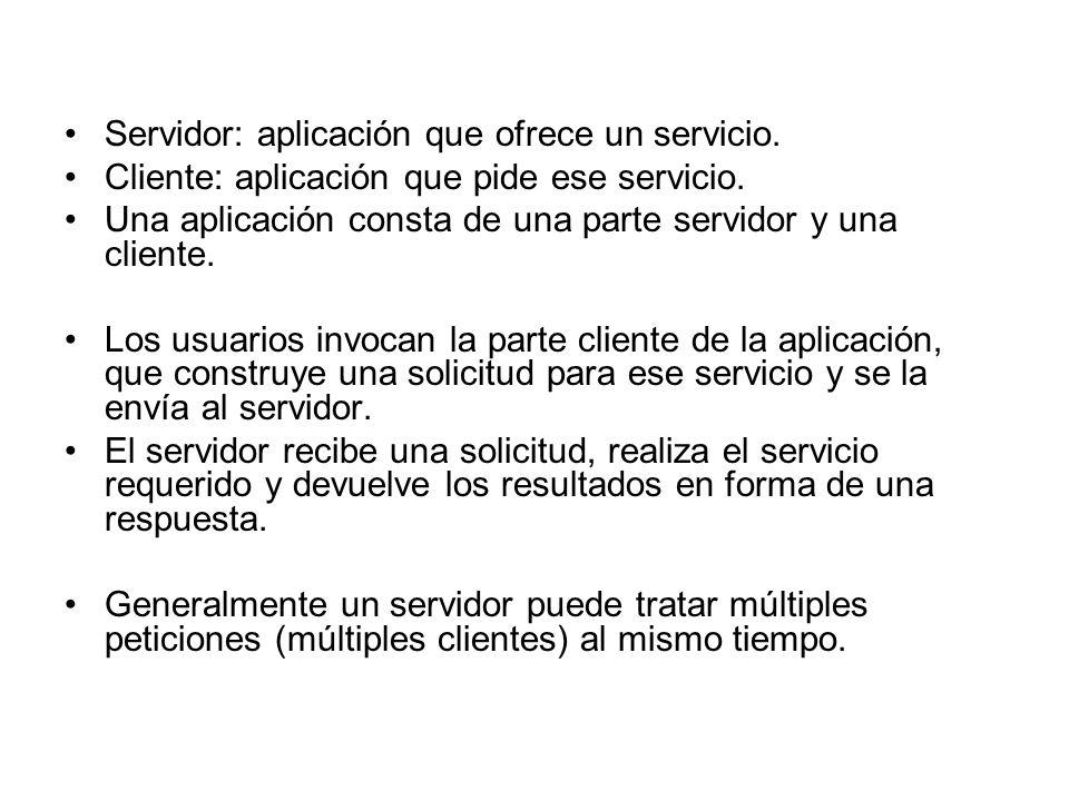 Servidor: aplicación que ofrece un servicio.Cliente: aplicación que pide ese servicio.
