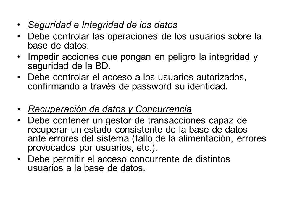 Seguridad e Integridad de los datos Debe controlar las operaciones de los usuarios sobre la base de datos.
