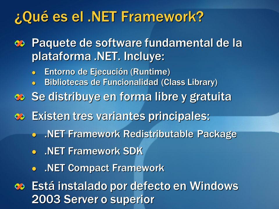 ¿Qué es el.NET Framework? Paquete de software fundamental de la plataforma.NET. Incluye: Entorno de Ejecución (Runtime) Entorno de Ejecución (Runtime)