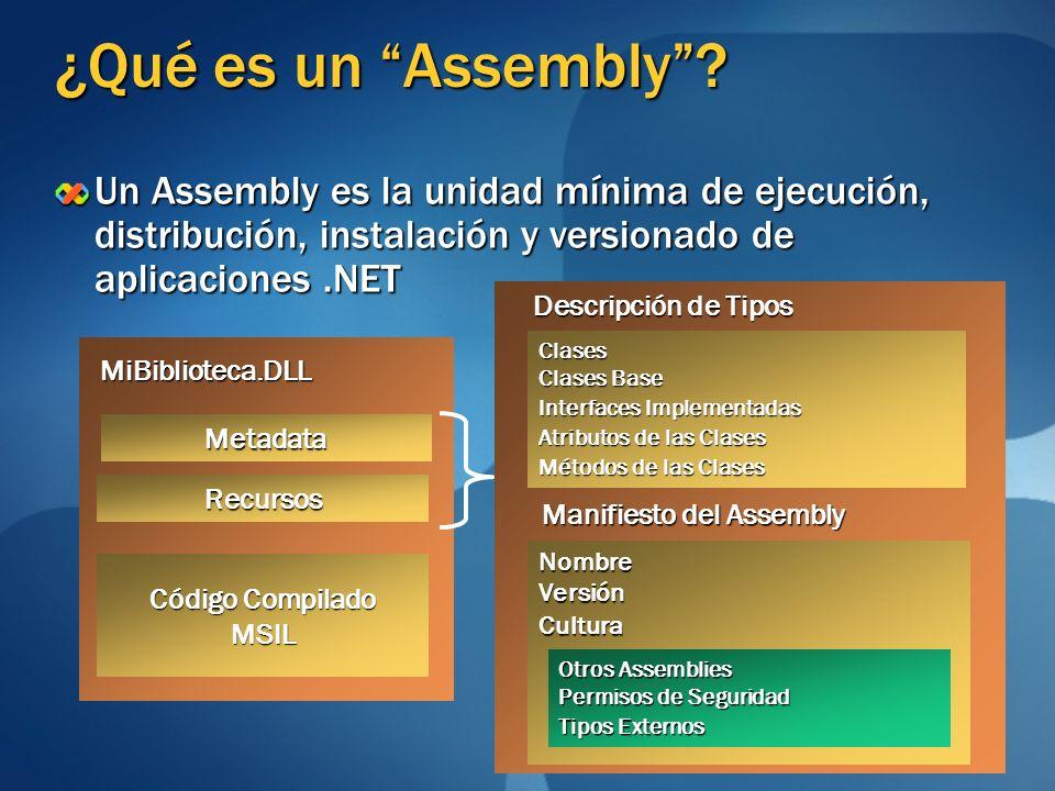 ¿Qué es un Assembly? Un Assembly es la unidad mínima de ejecución, distribución, instalación y versionado de aplicaciones.NET Metadata Código Compilad