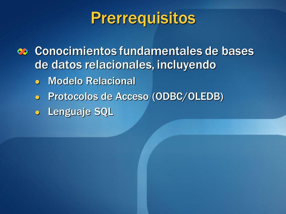 Prerrequisitos Conocimientos fundamentales de bases de datos relacionales, incluyendo Modelo Relacional Modelo Relacional Protocolos de Acceso (ODBC/O