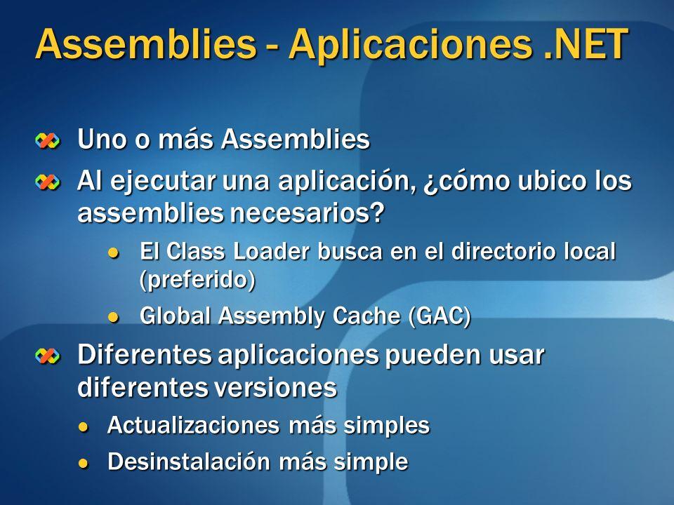 Assemblies - Aplicaciones.NET Uno o más Assemblies Al ejecutar una aplicación, ¿cómo ubico los assemblies necesarios? El Class Loader busca en el dire