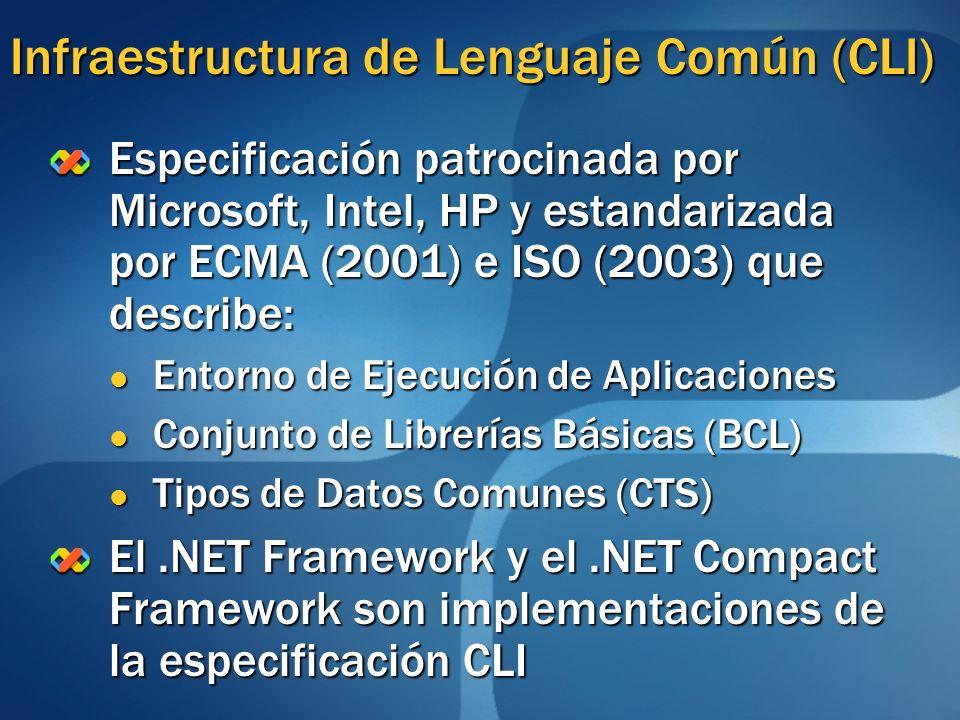 Infraestructura de Lenguaje Común (CLI) Especificación patrocinada por Microsoft, Intel, HP y estandarizada por ECMA (2001) e ISO (2003) que describe: