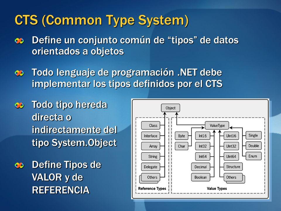 CTS (Common Type System) Define un conjunto común de tipos de datos orientados a objetos Todo lenguaje de programación.NET debe implementar los tipos