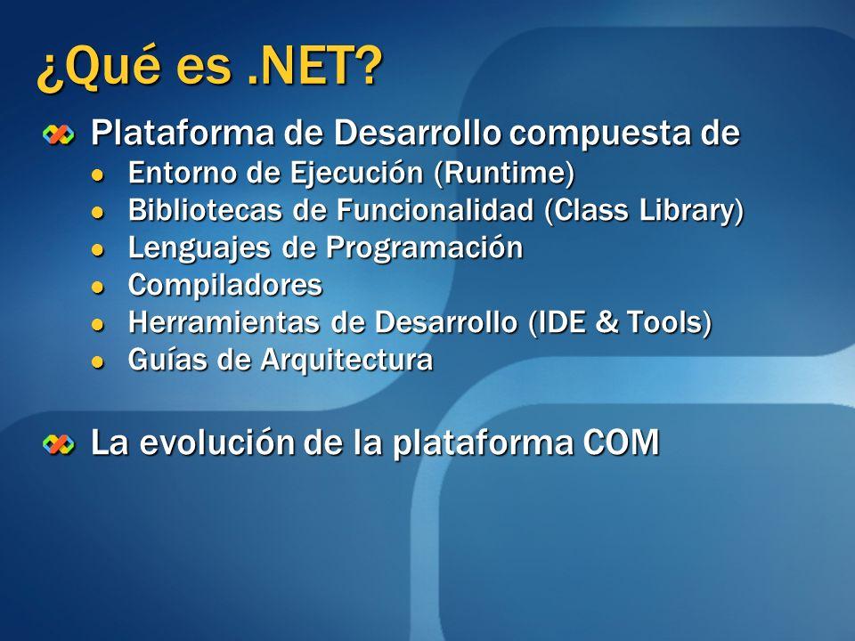 Infraestructura de Lenguaje Común (CLI) Especificación patrocinada por Microsoft, Intel, HP y estandarizada por ECMA (2001) e ISO (2003) que describe: Entorno de Ejecución de Aplicaciones Entorno de Ejecución de Aplicaciones Conjunto de Librerías Básicas (BCL) Conjunto de Librerías Básicas (BCL) Tipos de Datos Comunes (CTS) Tipos de Datos Comunes (CTS) El.NET Framework y el.NET Compact Framework son implementaciones de la especificación CLI