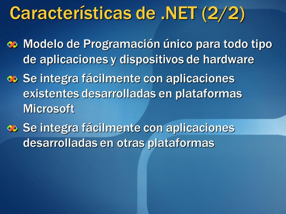 Plataforma de Ejecución Intermedia Entorno de Desarrollo Microsoft.NET Librerías de Funcionalidad Lenguajes de ProgramaciónEntorno de Ejecución Sistema Operativo (Familia Windows) Aplicación.NET