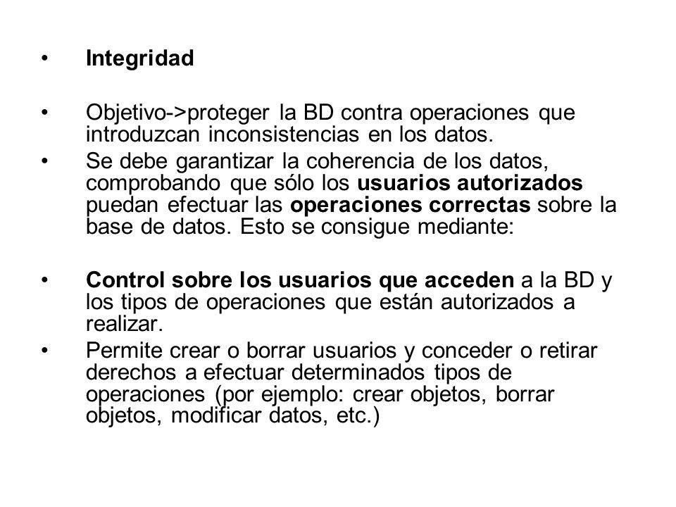 Integridad Objetivo->proteger la BD contra operaciones que introduzcan inconsistencias en los datos. Se debe garantizar la coherencia de los datos, co