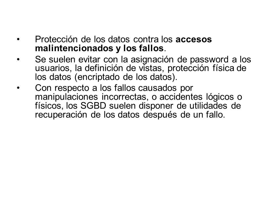 Protección de los datos contra los accesos malintencionados y los fallos. Se suelen evitar con la asignación de password a los usuarios, la definición