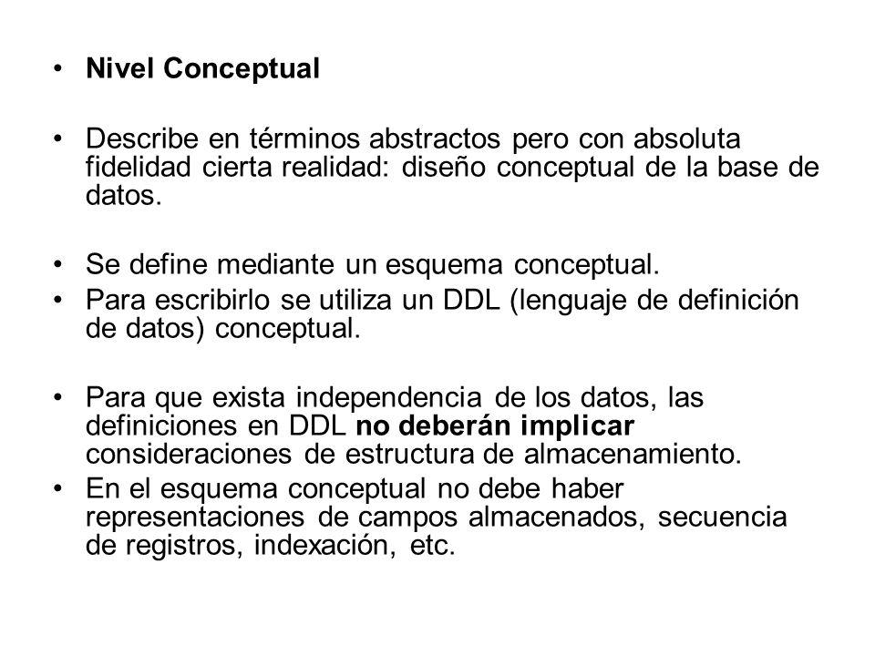 Nivel Conceptual Describe en términos abstractos pero con absoluta fidelidad cierta realidad: diseño conceptual de la base de datos. Se define mediant