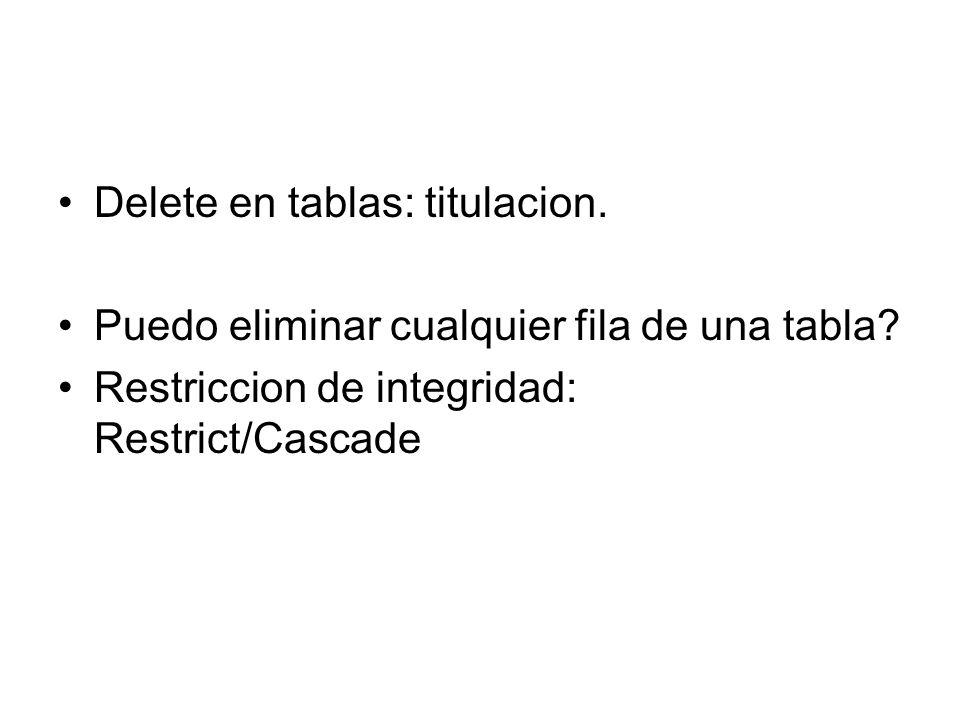Ojo: Titulacion se relaciona con Asignatura, y a la vez Asignatura se relaciona con Alumnoasignatura… Que pasa si esta en Cascada?....: Tanto Titulacion como Asignatura.