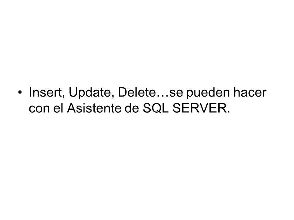 Insert, Update, Delete…se pueden hacer con el Asistente de SQL SERVER.