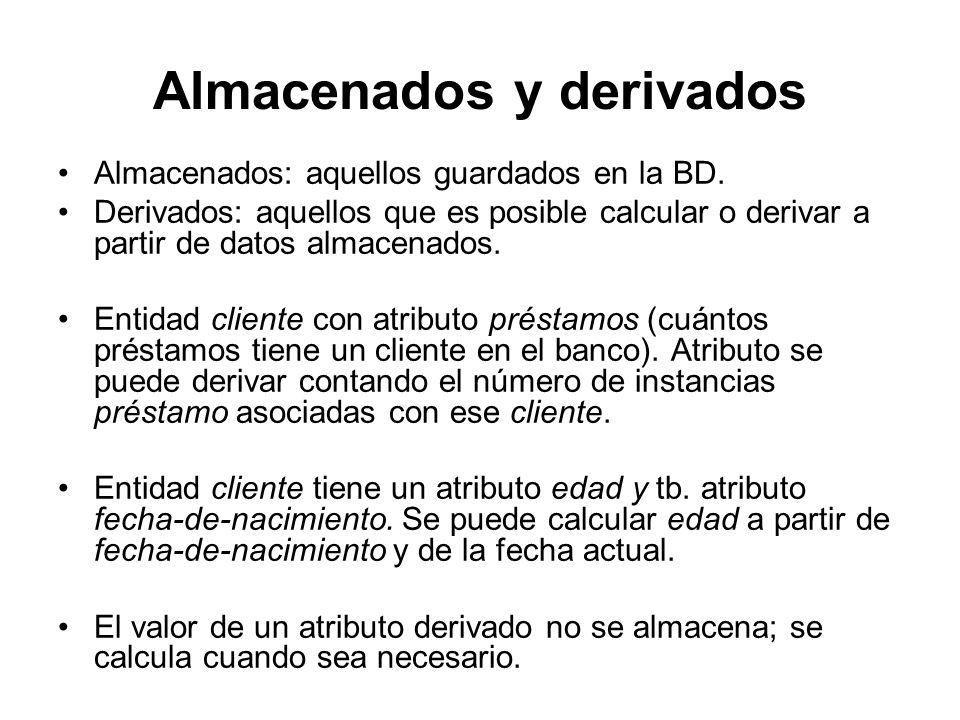 Almacenados y derivados Almacenados: aquellos guardados en la BD. Derivados: aquellos que es posible calcular o derivar a partir de datos almacenados.