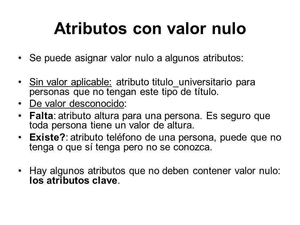 Atributos con valor nulo Se puede asignar valor nulo a algunos atributos: Sin valor aplicable: atributo titulo_universitario para personas que no teng