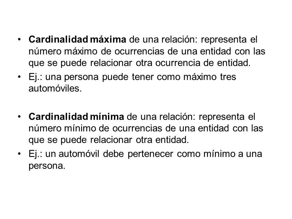 Cardinalidad máxima de una relación: representa el número máximo de ocurrencias de una entidad con las que se puede relacionar otra ocurrencia de enti